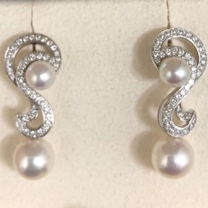 Mikimoto Pearl, 18K White Gold, & Diamond Earrings